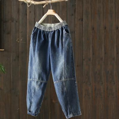 磨白做舊抓紋全棉牛仔褲寬鬆拼接九分褲-設計所在