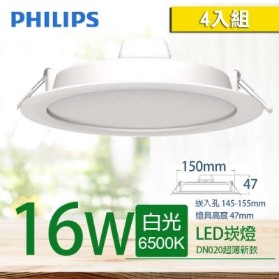 4入組【PHILIPS 飛利浦】LED薄型崁燈 16W  DN020B