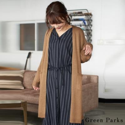 Green Parks 素面落肩長版針織罩衫