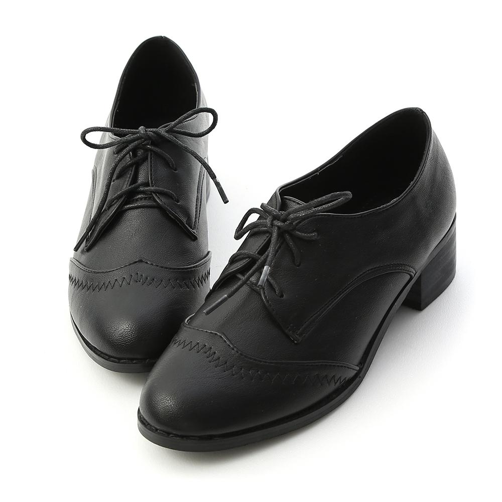 D+AF 學院風格.拷克車線綁帶牛津鞋*黑