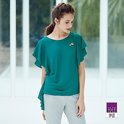 ILEY伊蕾 荷葉袖寬版雪紡上衣(綠)