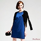 KeyWear奇威名品    簡約廓型蕾絲點綴洋裝-寶藍色