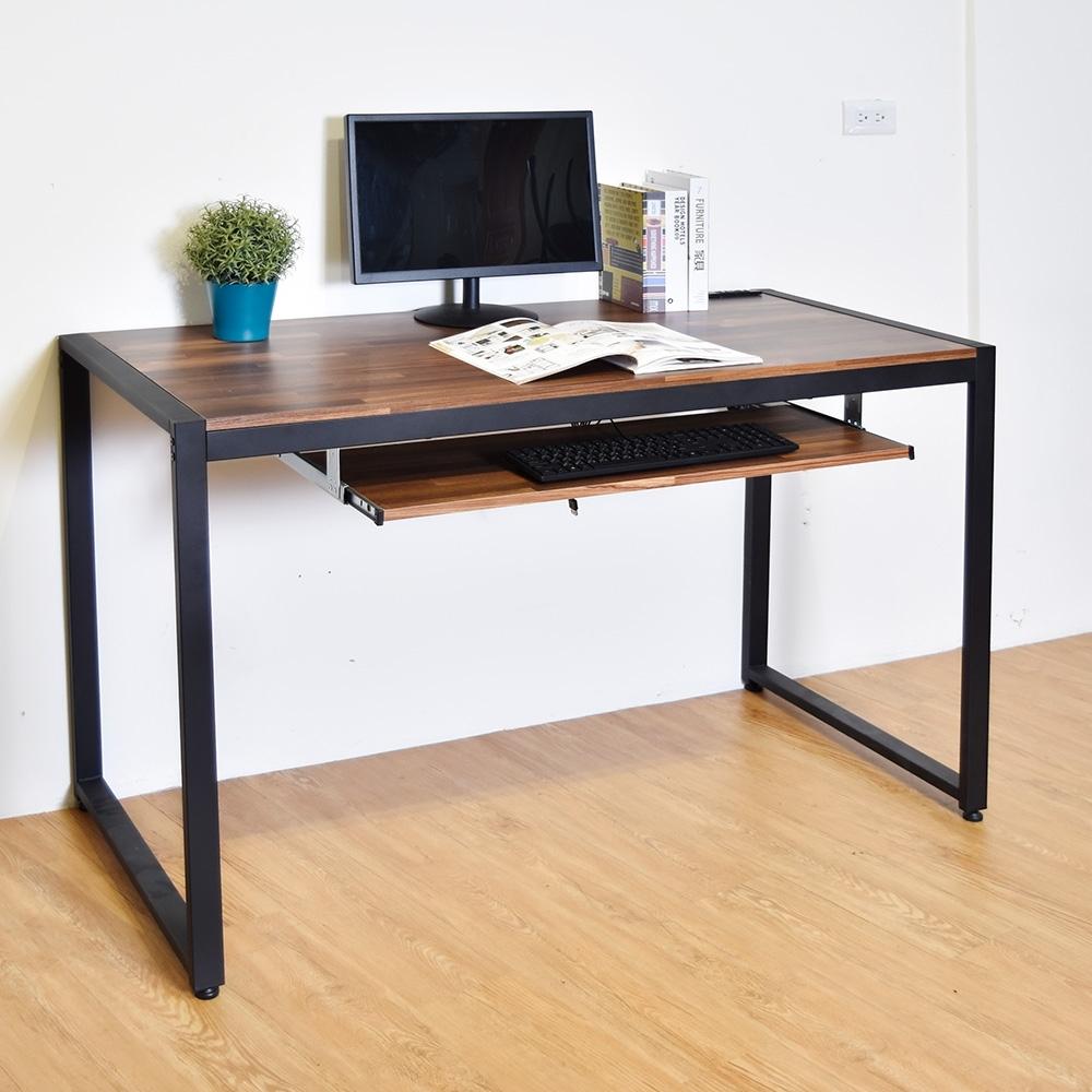 凱堡 木紋風128x60x77cm工作桌/電腦桌(附鍵盤架)