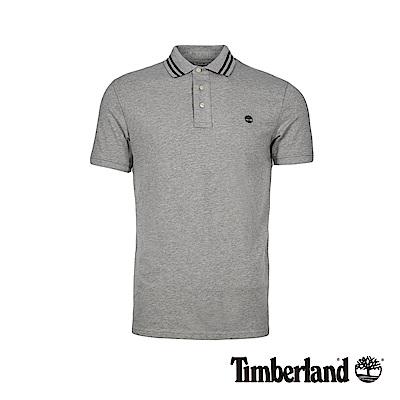 Timberland 男款中麻灰刺繡LOGO修身針織短袖POLO衫|A1W35