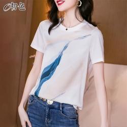 初色  簡約印花T恤-白色-(M-2XL可選)