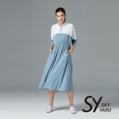 【SKY YARD 天空花園】開襟拼接收腰鬆緊帶長版洋裝-淺藍