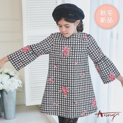 Annys安妮公主-千鳥格紋玫瑰圖樣秋冬款蓬蓬袖洋裝*8610黑色