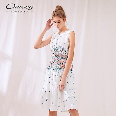 OUWEY歐薇 水彩感印花無袖洋裝(白)