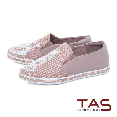 TAS閃耀滿版造型水鑽牛皮懶人休閒鞋-豆沙粉