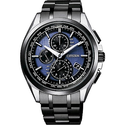 CITIZEN星辰光動能40週年限量鈦電波計時錶-藍x黑/42mm(AT8044-72L)