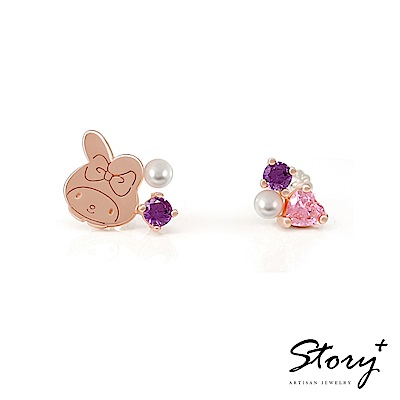 STORY故事銀飾-PinkHolic 閃亮粉紅時代耳環-MyMelody美樂蒂款