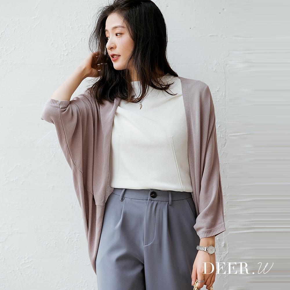 DEER.W 開襟飛鼠袖冰絲針織外套(灰紫)