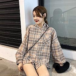 IMStyle 休閒百搭格子襯衫(杏色/白色/藍色/藏青色)