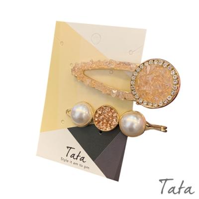 粉紅閃鑽髮夾(2入) TATA