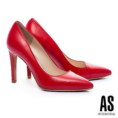 高跟鞋 AS 簡約流線V字純色羊皮美型尖頭高跟鞋-紅