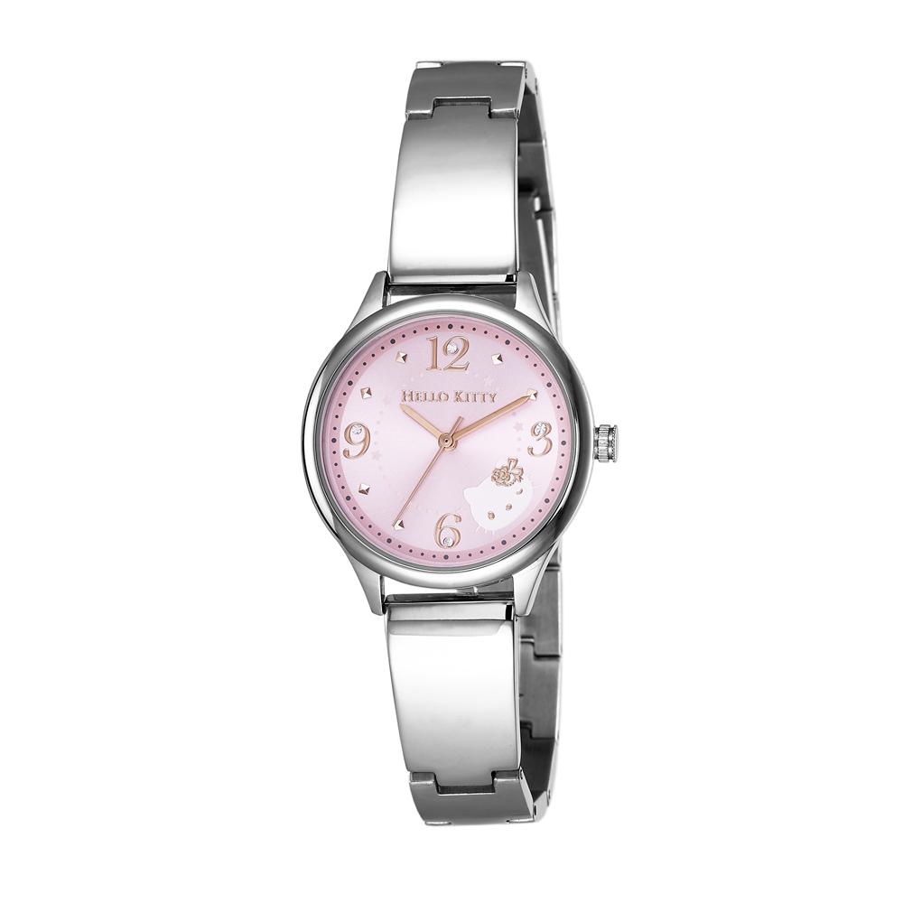 HELLO KITTY 凱蒂貓 時尚星鑽手錶-粉紅x銀/31mm