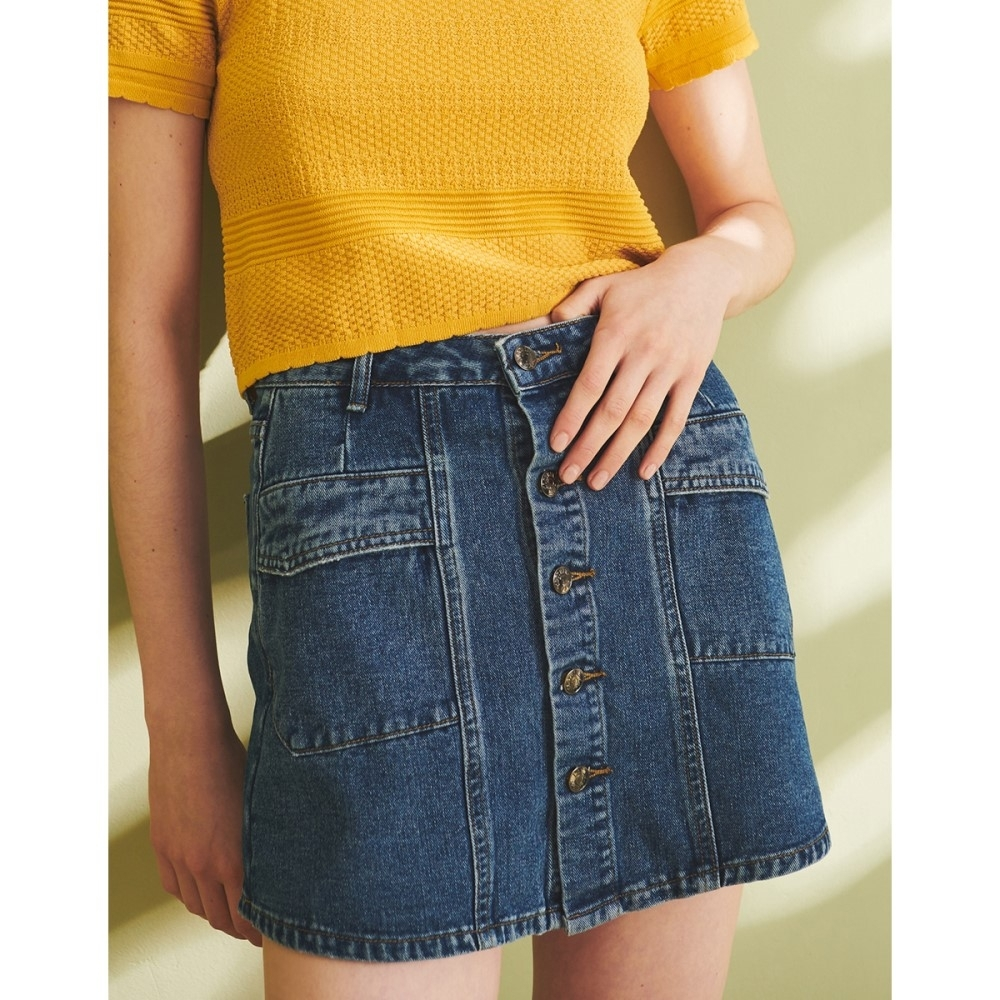 Shester55-造型口袋牛仔裙褲-女【XSH047】