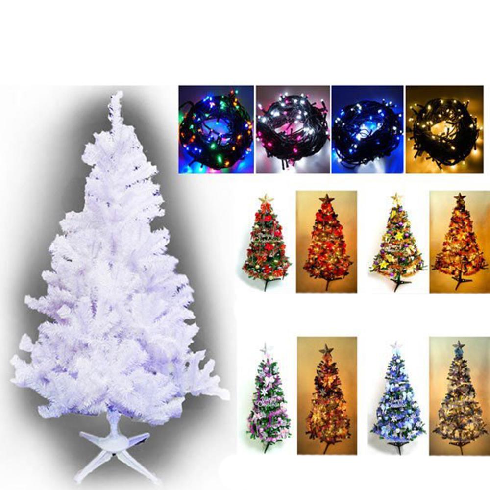 摩達客 10尺豪華版白色聖誕樹(飾品組+100LED燈6串附控制器)