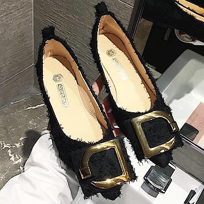 韓國KW美鞋館 爆推款超軟百搭開叉平底鞋-黑色