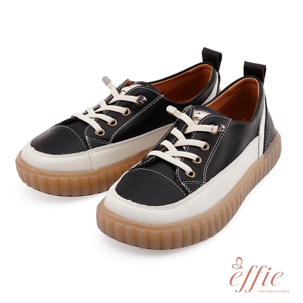 effie 夏日悠遊-套入式鬆緊帶造型復古懶人休閒鞋(網獨款)-黑