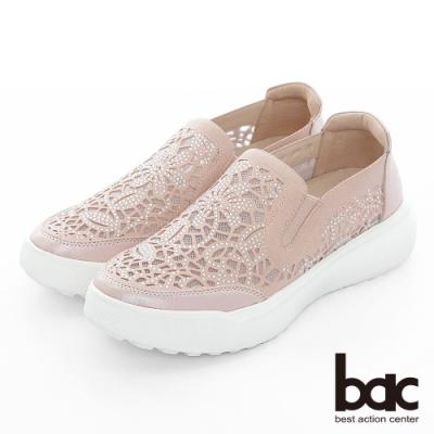 【bac】週末輕旅行 - 網眼鏤空圖騰鑽飾厚底懶人休閒鞋-粉紅