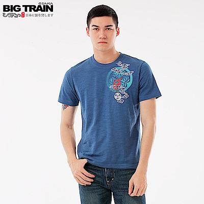BigTrain 加大天狗護衛圓領短袖-男-藍色