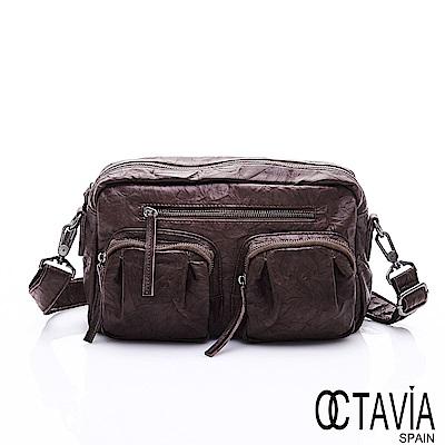 OCTAVIA 8 真皮 - 方圓規距 超軟牛皮雙口袋肩斜二用包- 深度咖
