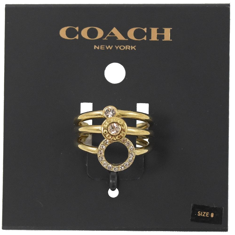 COACH 簡約款圓形水鑽裝飾款三入戒指(金)