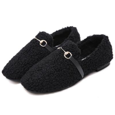 KEITH-WILL時尚鞋館 休閒紓壓溫暖平底鞋-黑色