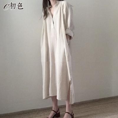 初色  韓版超長款連身裙-共2色-(M-XL可選)
