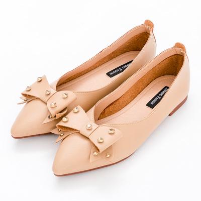River&Moon中大尺碼-晶鑽朵結超纖Q軟橡膠平底尖頭鞋-棕