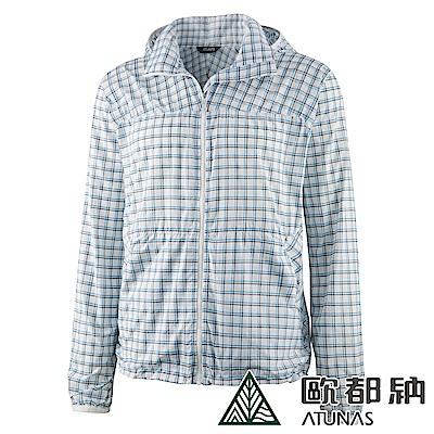 【ATUNAS 歐都納】男款抗風防曬休閒輕薄口袋外套A-G1213M1藍格