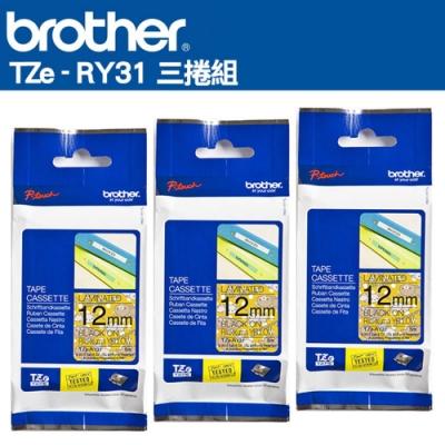 Brother TZe-RY31 Rilakkuma護貝標籤帶 ( 12mm 黃底黑字 )三入組