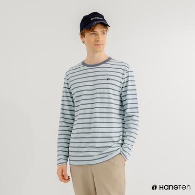 Hang Ten-男裝-厚磅腳丫長袖T恤-藍白條紋