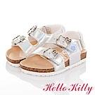 (雙11)HelloKitty 純色亮面減壓吸震腳床型童涼鞋-銀