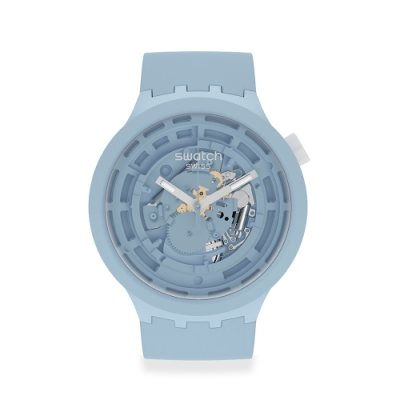 SWATCH 生物陶瓷 BIG BOLD系列手錶C-BLUE 陶瓷粉藍(47mm)