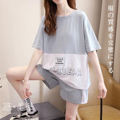 悠美學-日系簡約優雅撞色圓領造型套裝-3色(M-2XL)