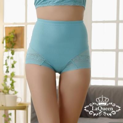 塑褲 美體中高腰縮腹蠶絲褲-天藍 La Queen