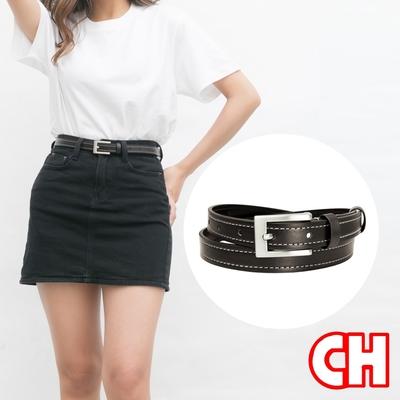 CH-BELT流行百搭車線造型細版苗條女生腰帶皮帶(咖)