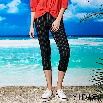 【YIDIE衣蝶】英倫風細條紋彈性西裝褲