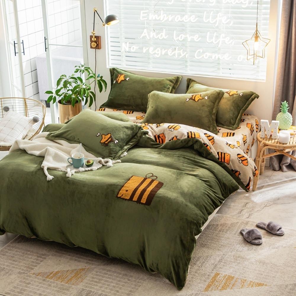 BUNNY LIFE HONY BEE-雙人-極柔牛奶絨毛巾繡床包四件組
