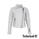 Timberland 女款淺灰色石南花編織款機車外套|B3801