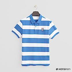 Hang Ten - 男裝 - 撞色滾邊POLO衫 - 藍白