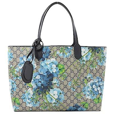GUCCI BLOOMS系列花朵PVC雙面托特包(藍/大)