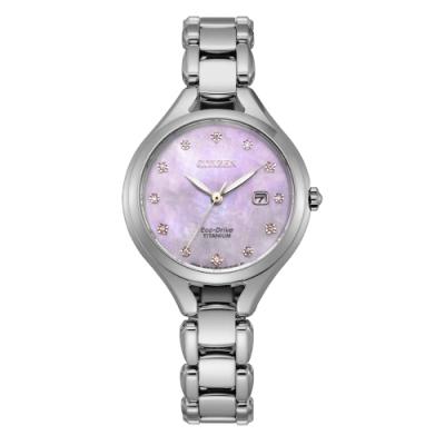 CITIZEN LADY S光動能鈦金屬閃耀貝殼面腕錶(EW2560-86Y)30mm
