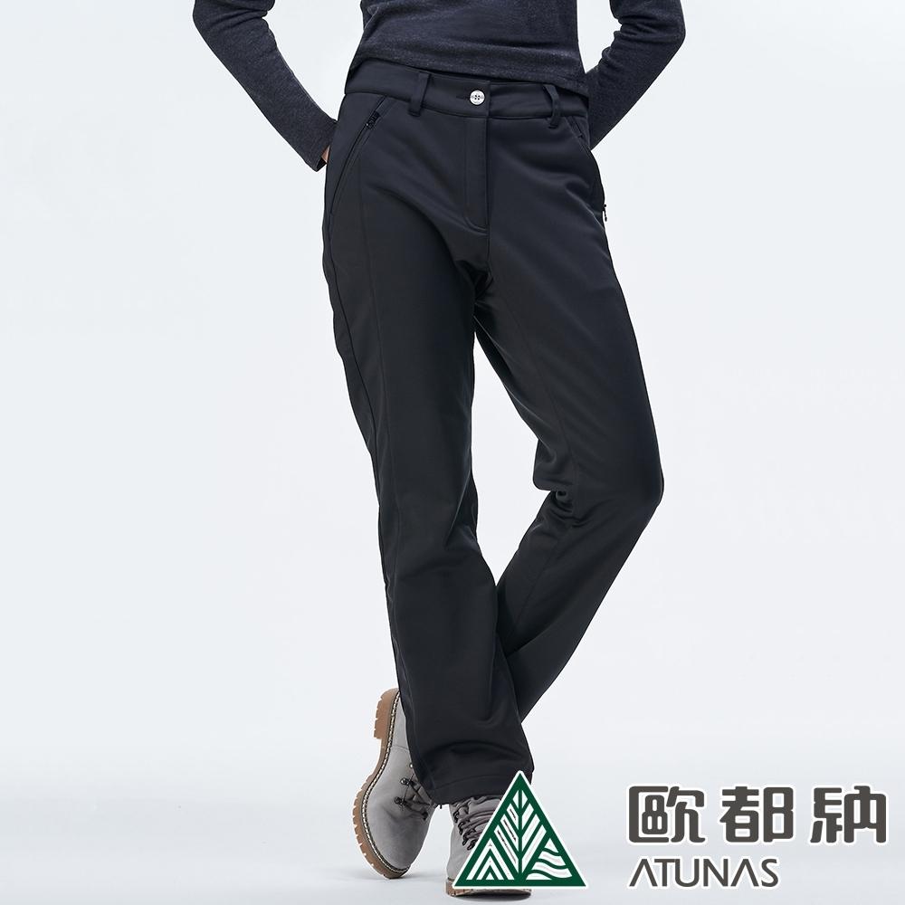 【ATUNAS 歐都納】女款SOFTSHELL刷毛防風保暖長褲A-PA1825W炭灰