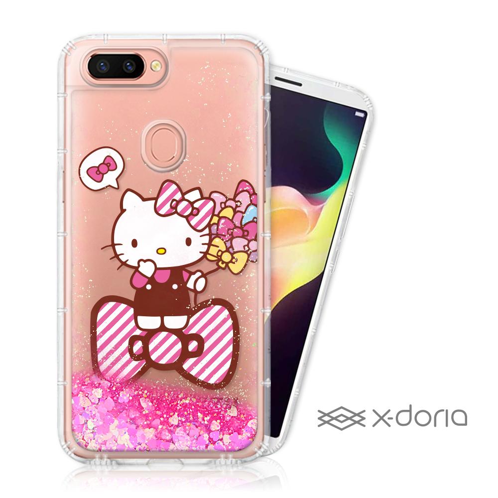 Hello Kitty OPPO R15 亮片流沙手機軟殼 - 蝴蝶結