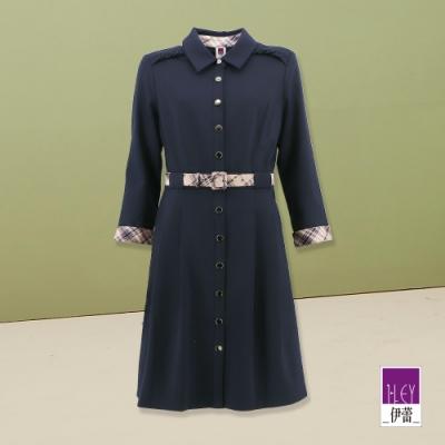 ILEY伊蕾 都會造型格紋腰帶洋裝(藍)