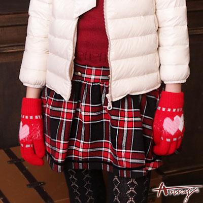 Anny學院高級雙排勳釦格紋短裙*6276紅