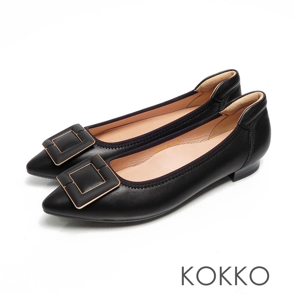 KOKKO經典尖頭方扣柔軟羊皮舒壓粗跟鞋霧黑色